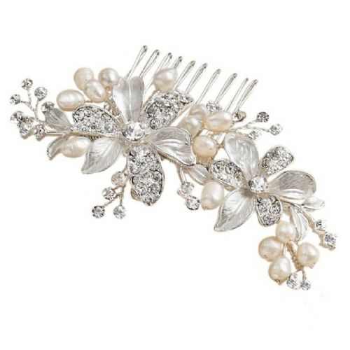 Pearl, Crystal Floral Romance Bridal Hair Comb